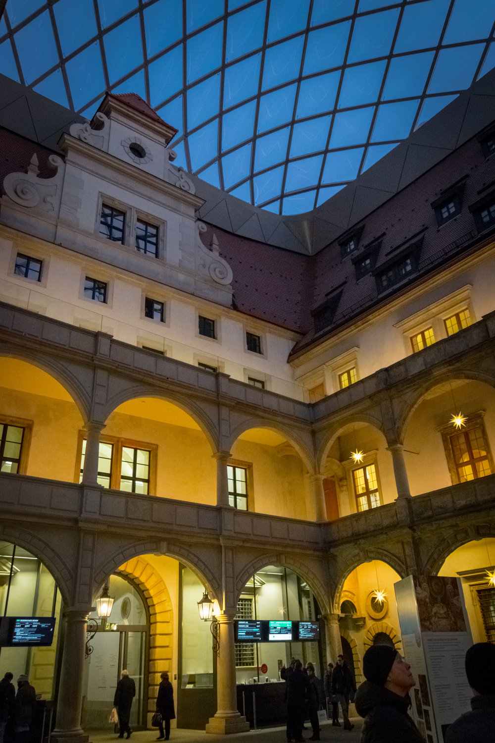 modern enclosed courtyard of the palace