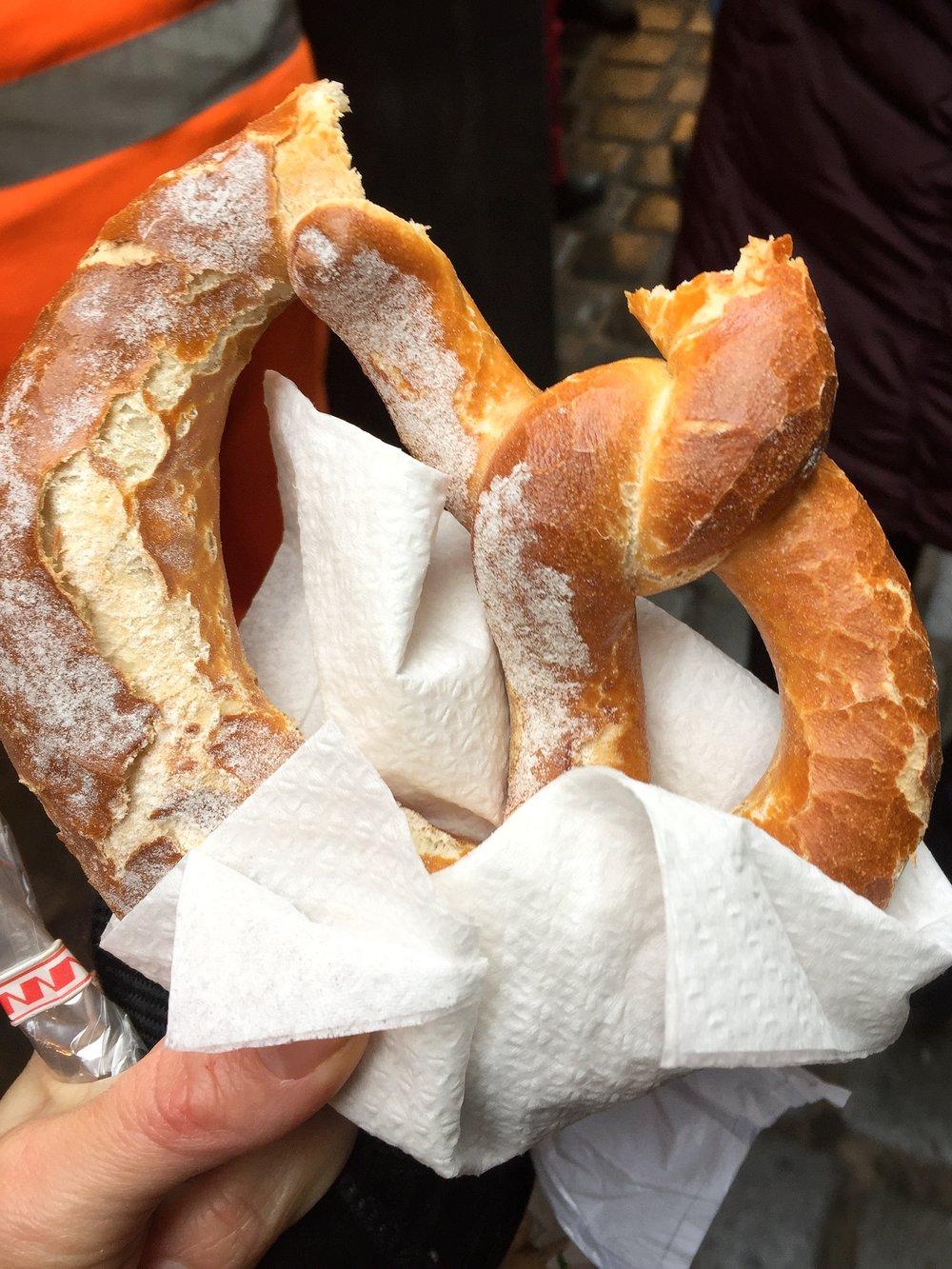 huge soft pretzel at Christmas market (Nuremberg)