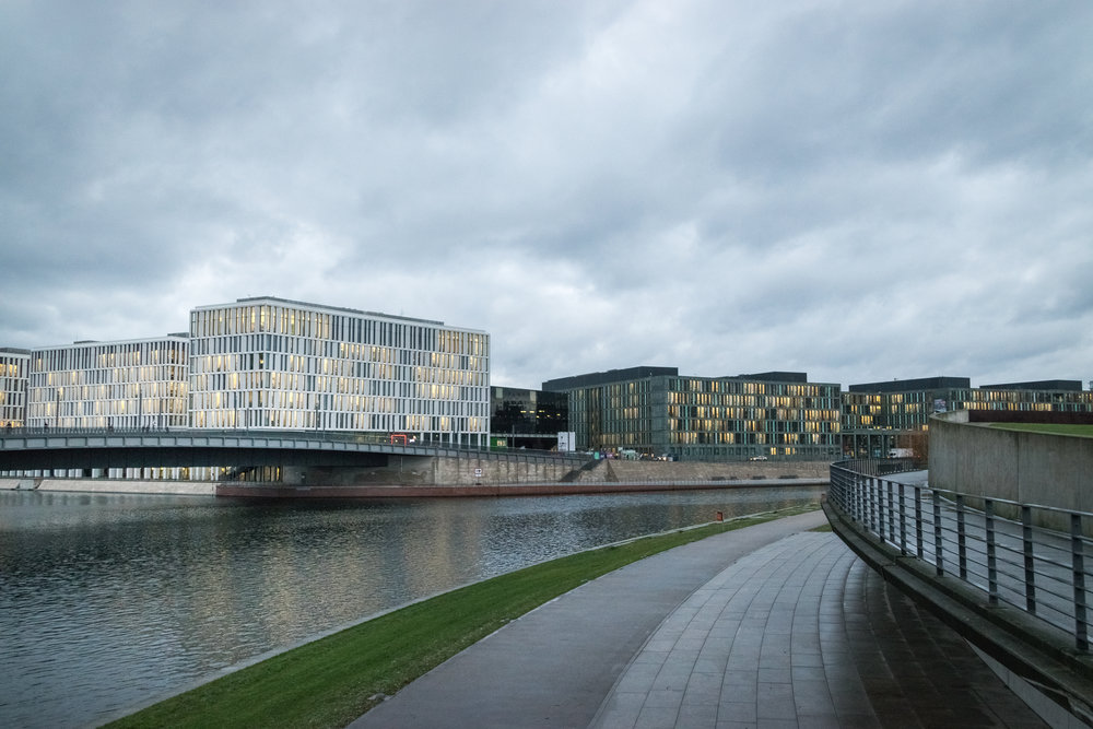 brand-new modern buildings across the river