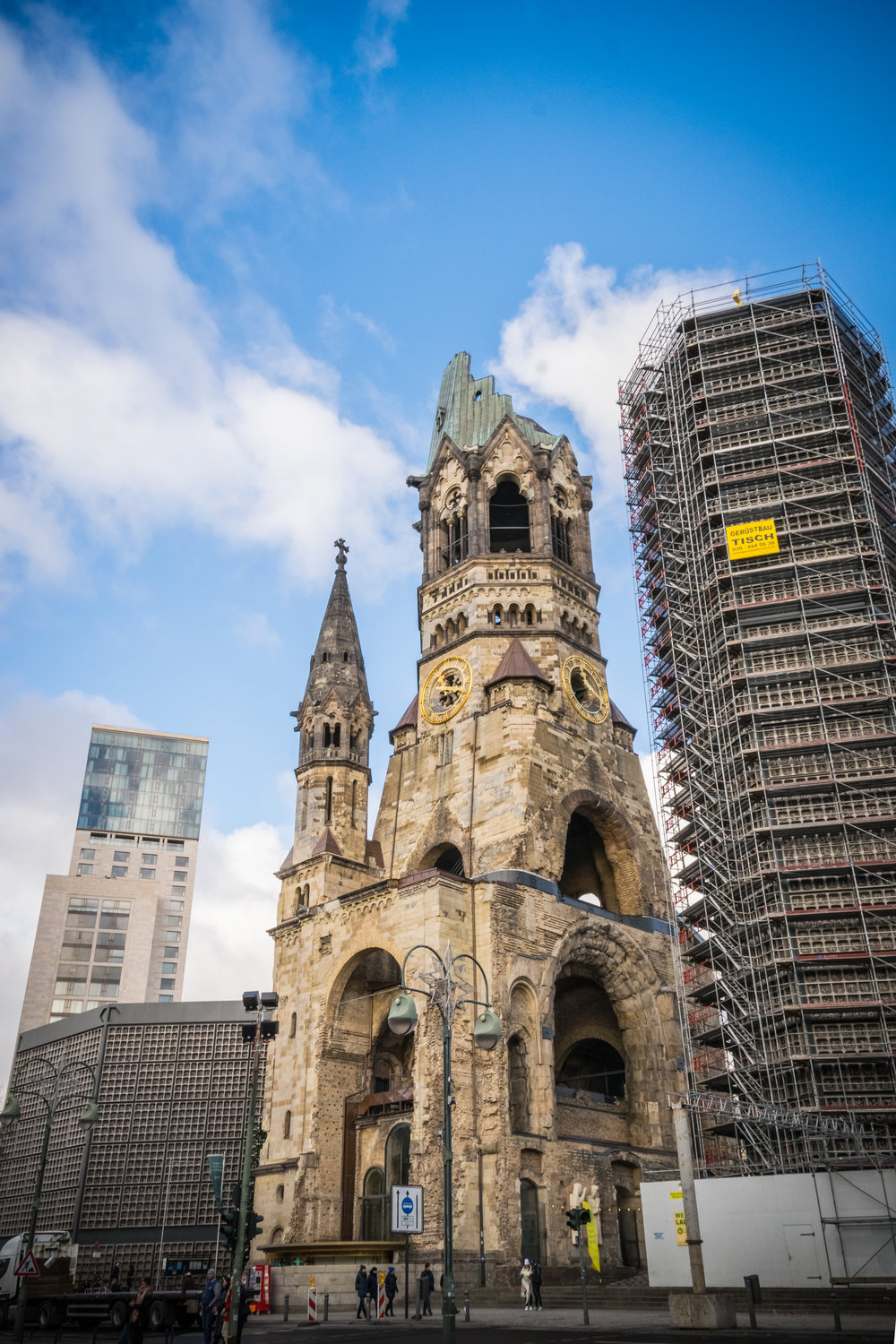 Kaiser Wilhelm Memorial Church, with new 'lipstick and powder compact' buildings
