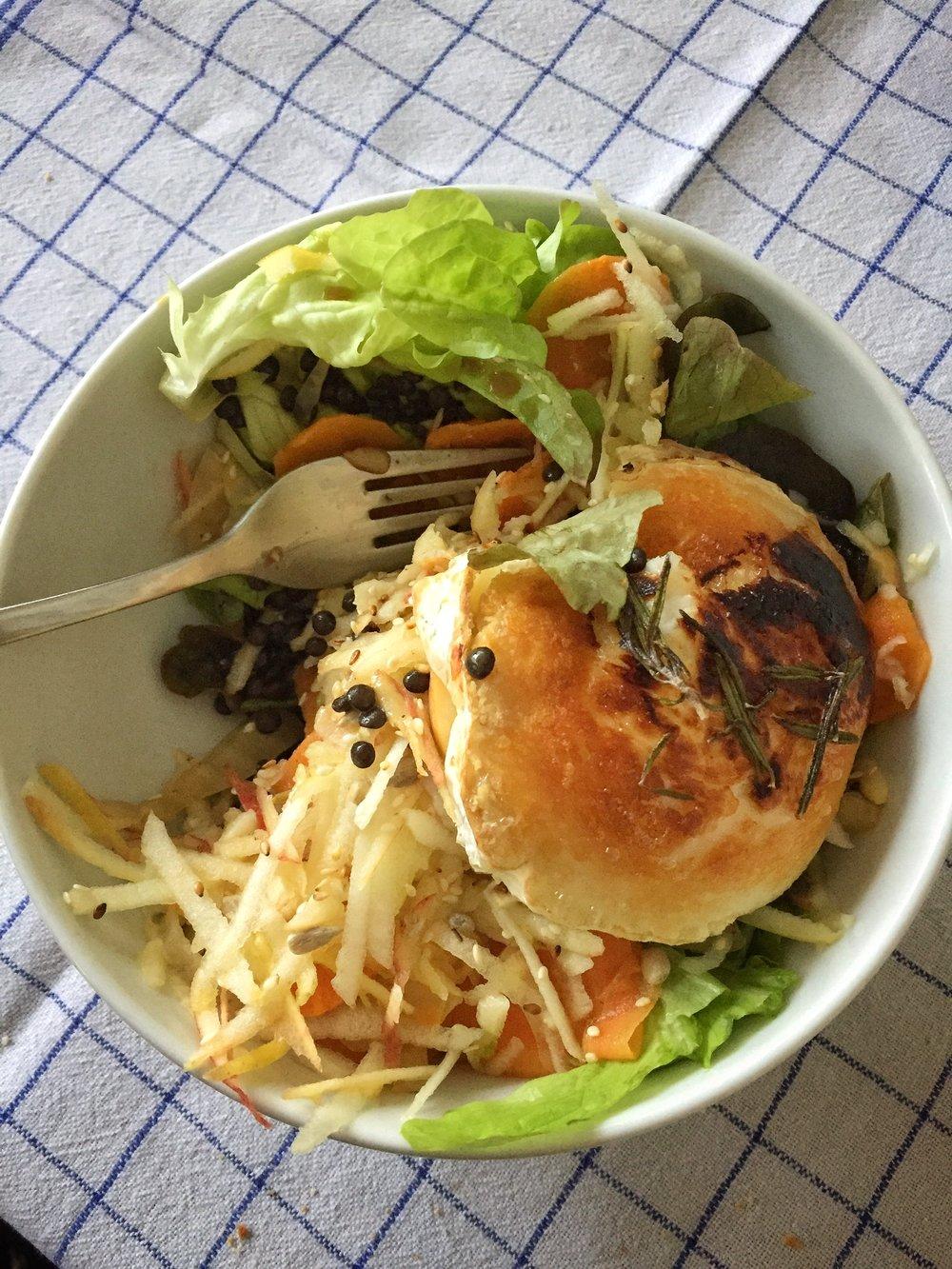 lentil salad with fennel, carrots, apples, and goat cheese at Café Johanna (Hamburg)