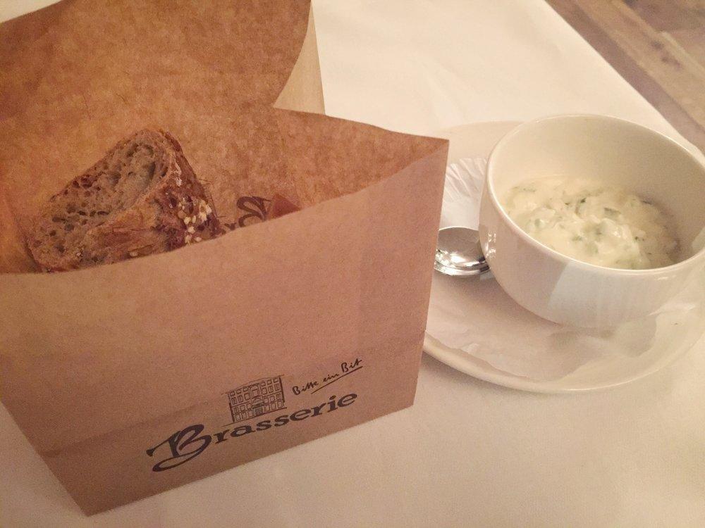 bread & yogurt dip at Restaurant Brasserie (Trier)