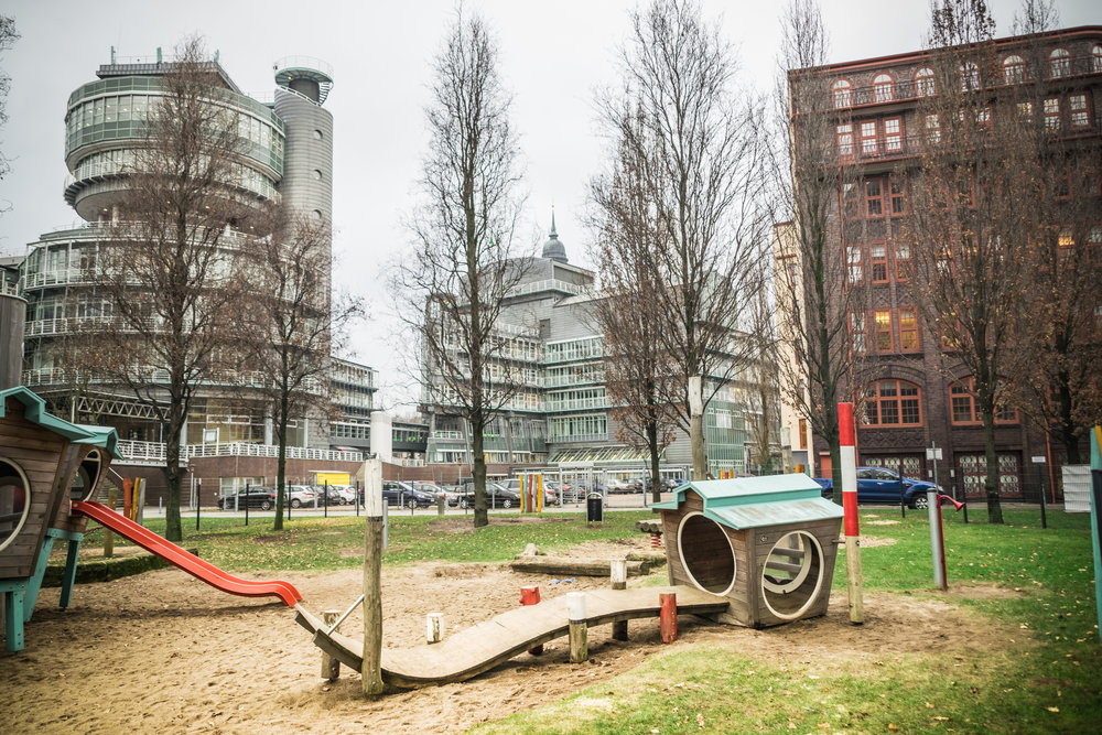the uber-presh G+J playground mimics the building's design