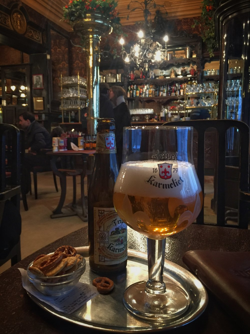 beer at the thoroughly Art Nouveau Le Cirio Café (Brussels)