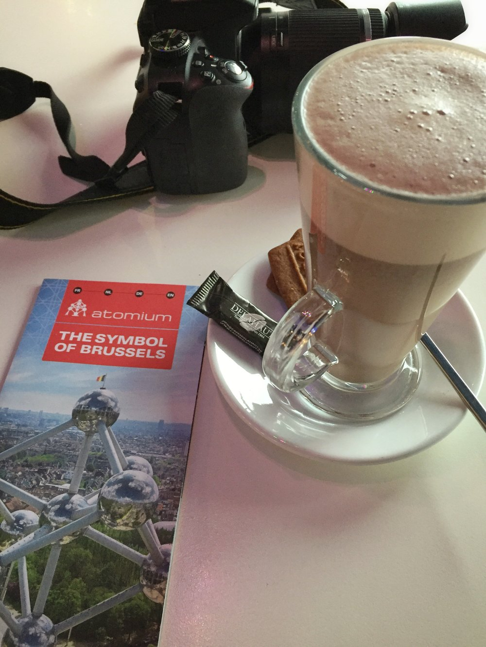 hot chocolate stop in the Atomium (Brussels)
