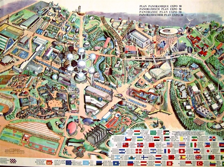 map of the 1958 fair in Brussels (photo credit: Pinterest)