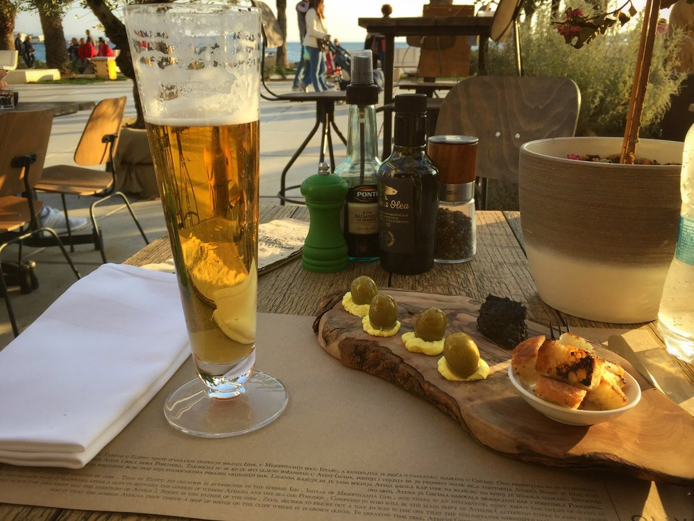 beer & olive appetizer at Olive Tree (Split)