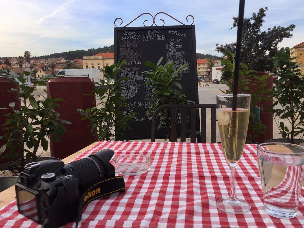 lavender juice & champagne at Bistro Kod Damira (Stari Grad, Hvar)
