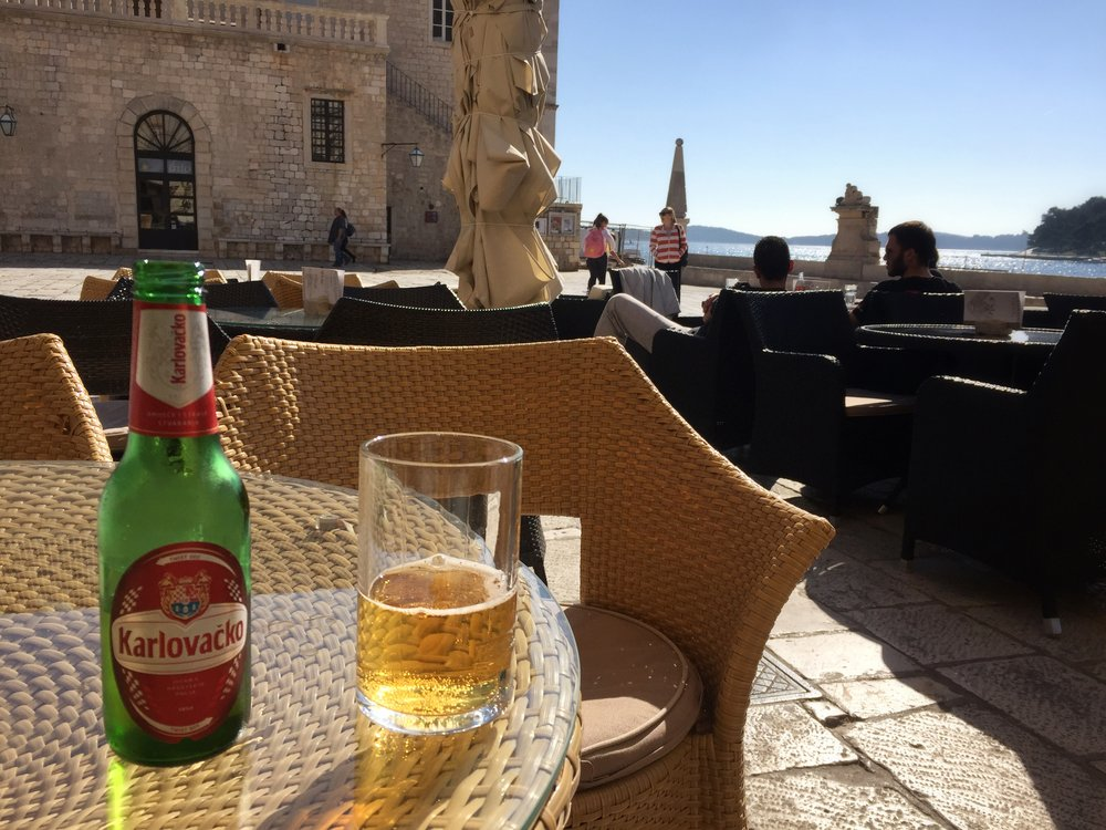 Croatian beer on a sunny patio (Hvar)