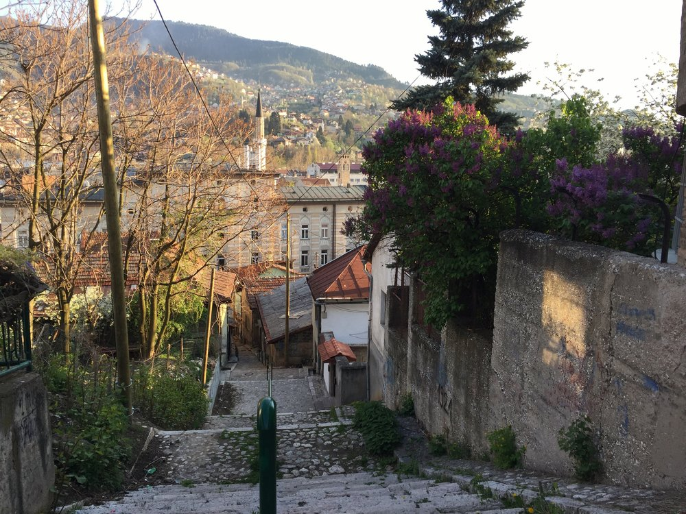 an intimate residential alley near the Baščaršija