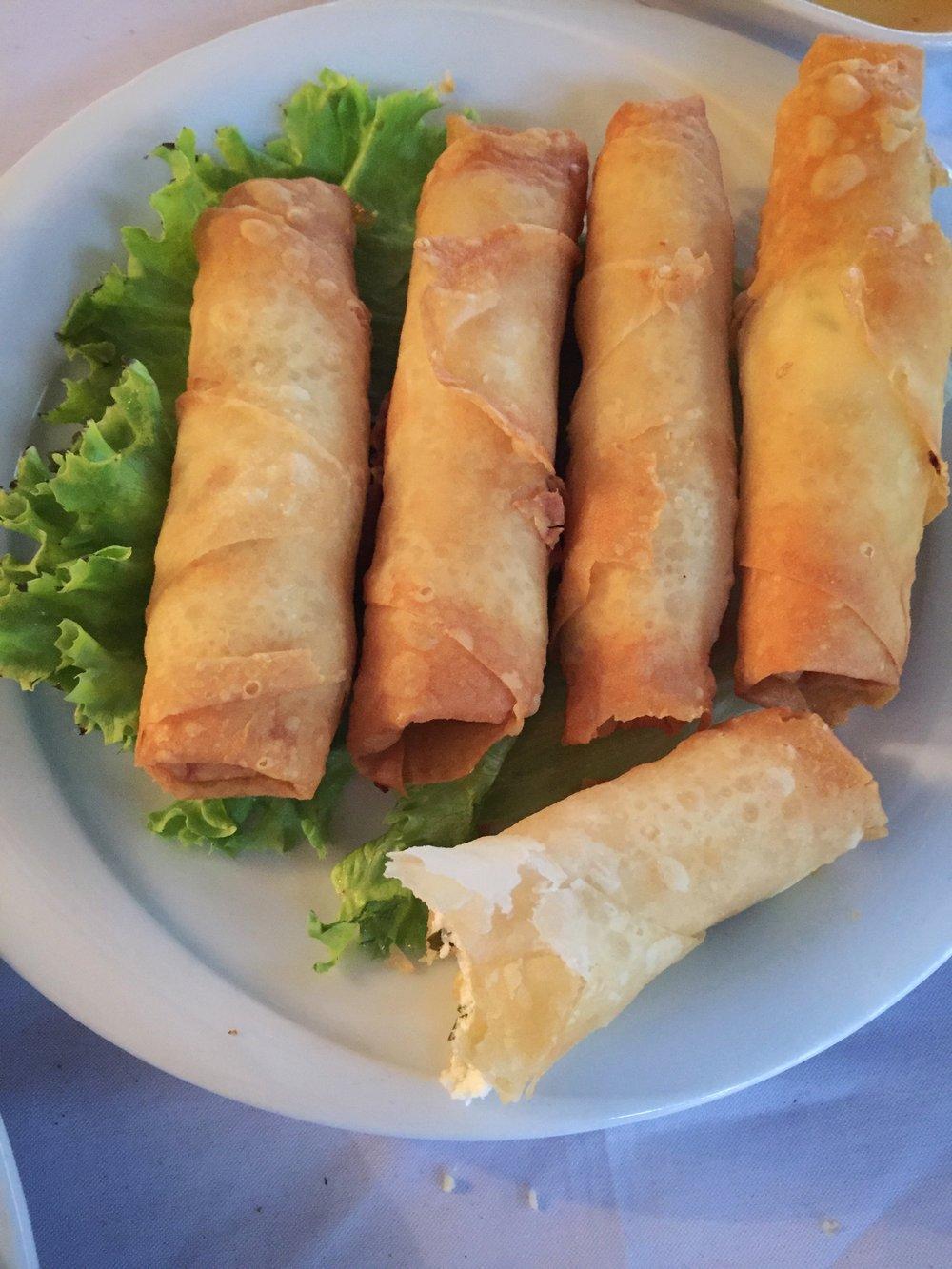 Turkish fried feta rolls, sigara böreği