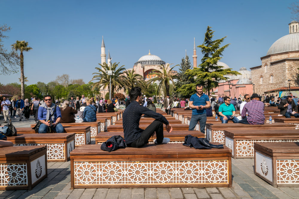 lovely seating outside of the Blue Mosque and Hagia Sophia