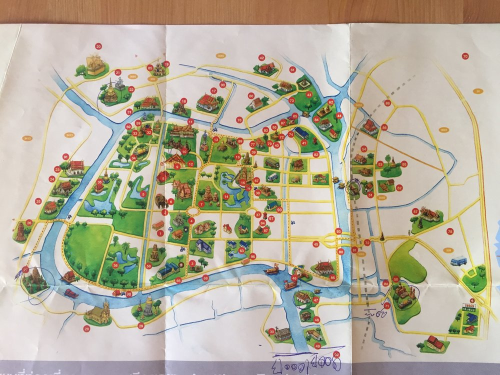 paper map of Ayutthaya