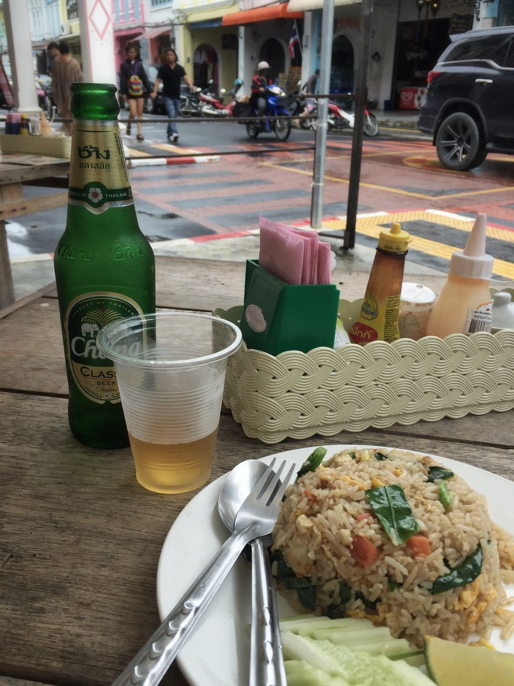 fried rice with vegetables & Thai beer (Old Phuket Town)