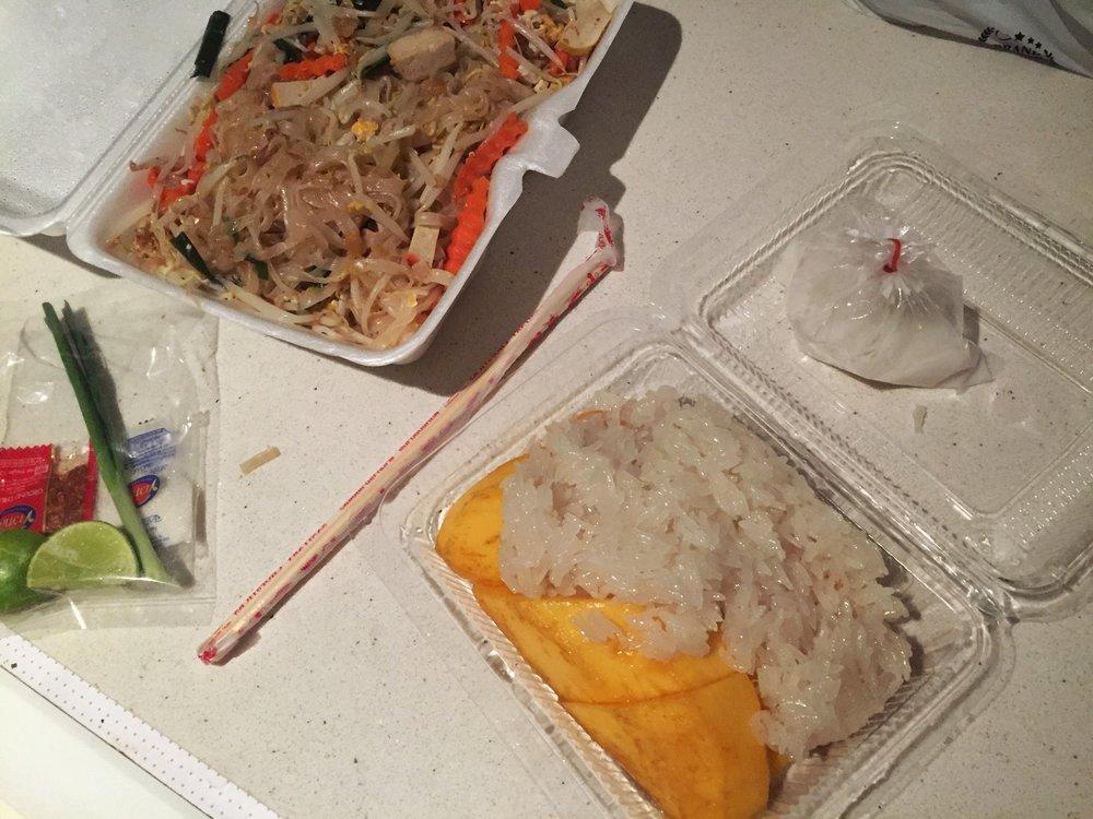 pad thai & sticky rice with mango