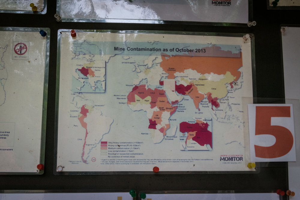 countries still dealing with landmines; I was surprised to see Croatia and Bosnia in red