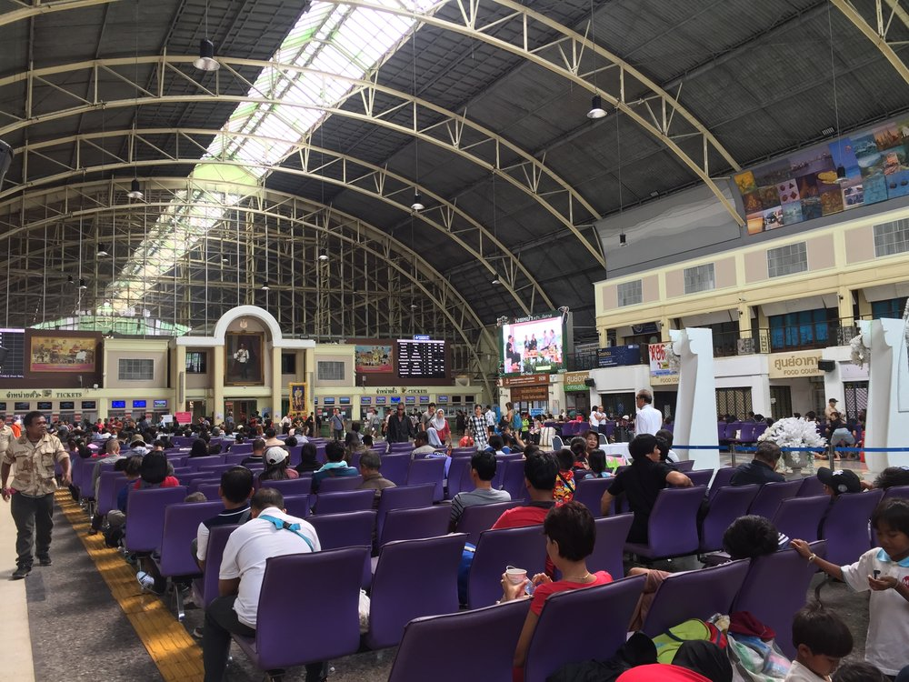 inside the Bangkok Railway Station, or Hua Lamphong Station
