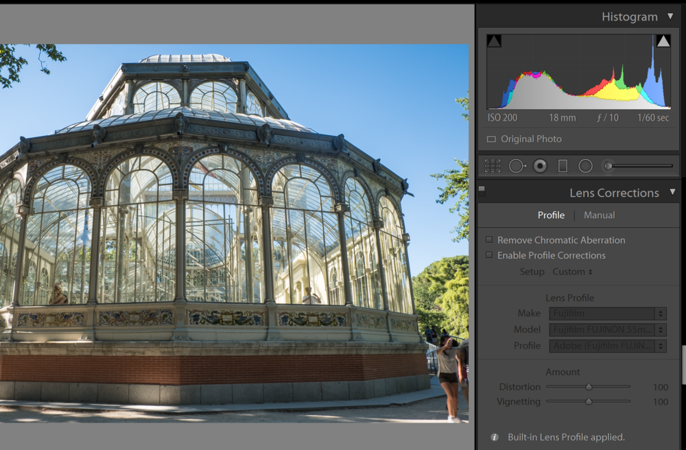 Fujifilm lens profiles come applied in Lightroom