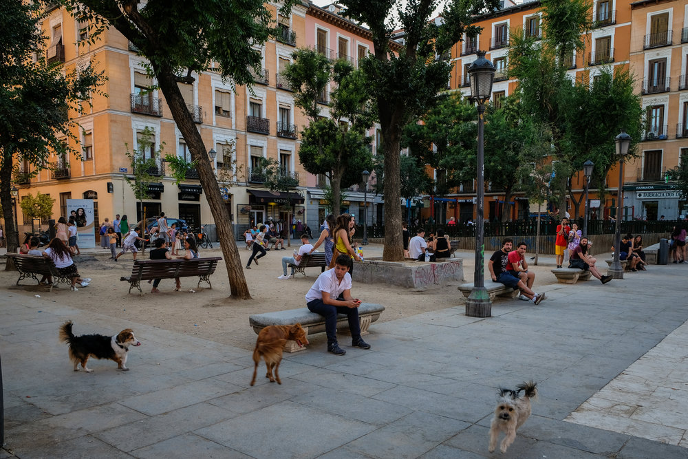 great example of a people-oriented public space: Plaza Dos de Mayo in Madrid, Spain