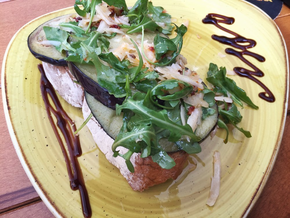 eggplant (ugh) on toast in Santiago de Compostela