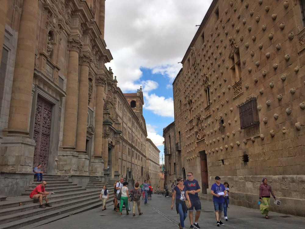 Salamanca University on left, Casa de las Conchas on right