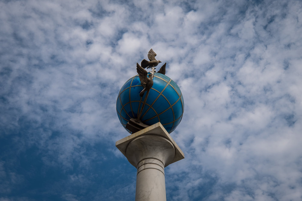 globe monument in Independence Square