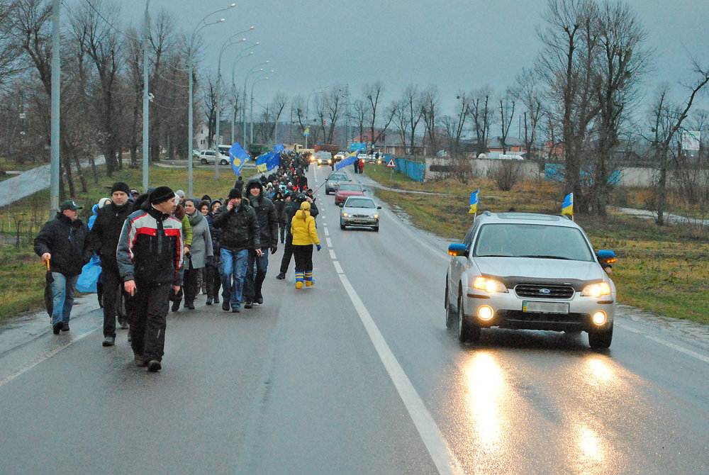Euromaidan on the road to Mezhyhirya (photo credit: Mykola Vasylechko)