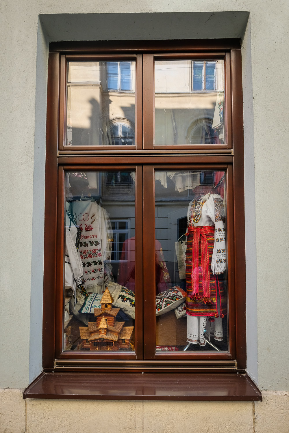 shop window displaying traditional Ukrainian embroidery