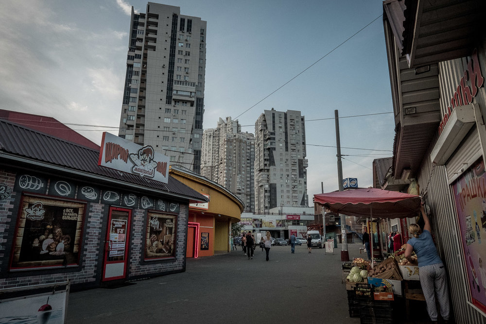 "one of many ""pop-up"" shopping alleys in Kiev"