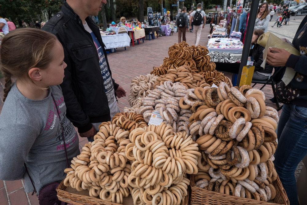 especially in Kiev, cracker vendors are popular