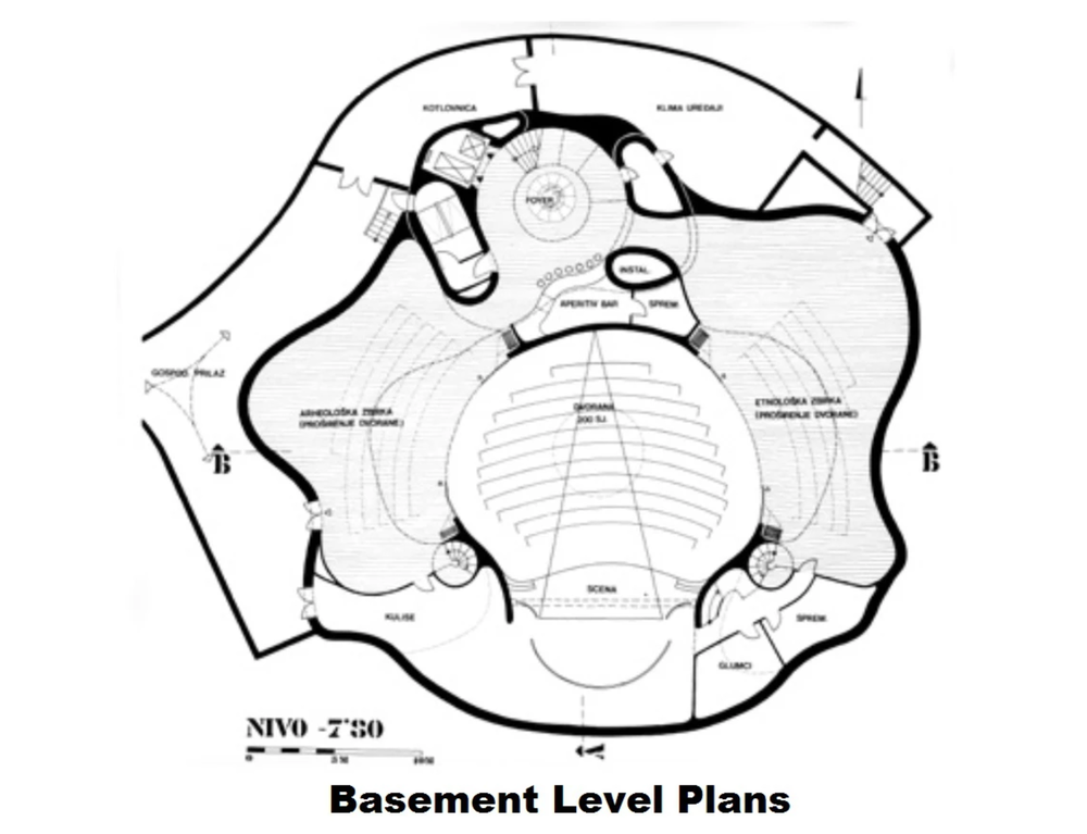 architectural drawings, basement (photo credit: spomenikdatabase.org)