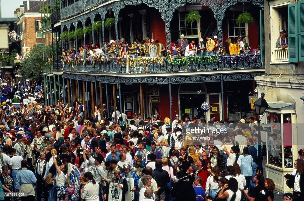 Mardi Gras celebration on Royal Street (photo credit: gettyimages.com)
