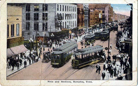 trolleys along Main and Madison (image credit: historic-memphis.com)