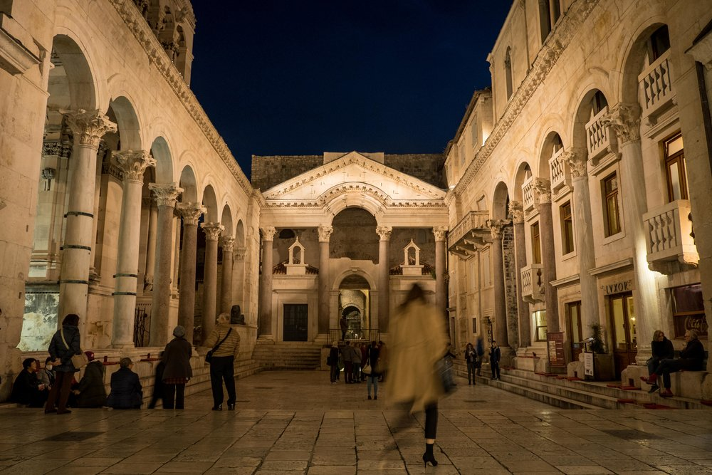 the peristyle of Split's Diocletian's Palace on a slow night