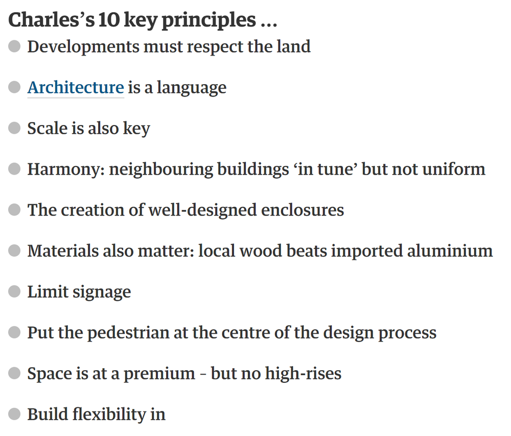 screenshot of Prince Charles' ten principles for design, as summarized by  theguardian.com