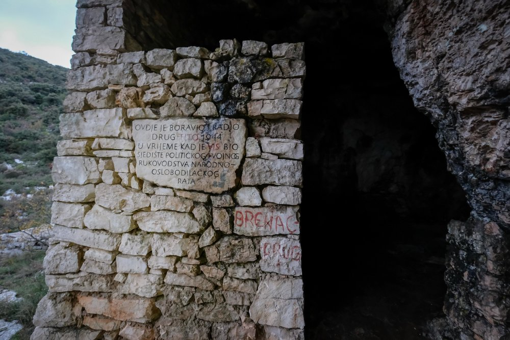 entrance to Tito's sparse cave, where he camped out for a brief period from the Nazis