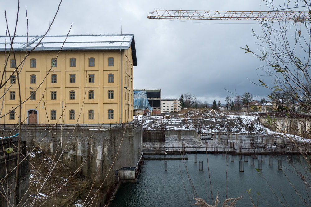 an unfinished construction project at the historic Kulturni Center Tobačna 001