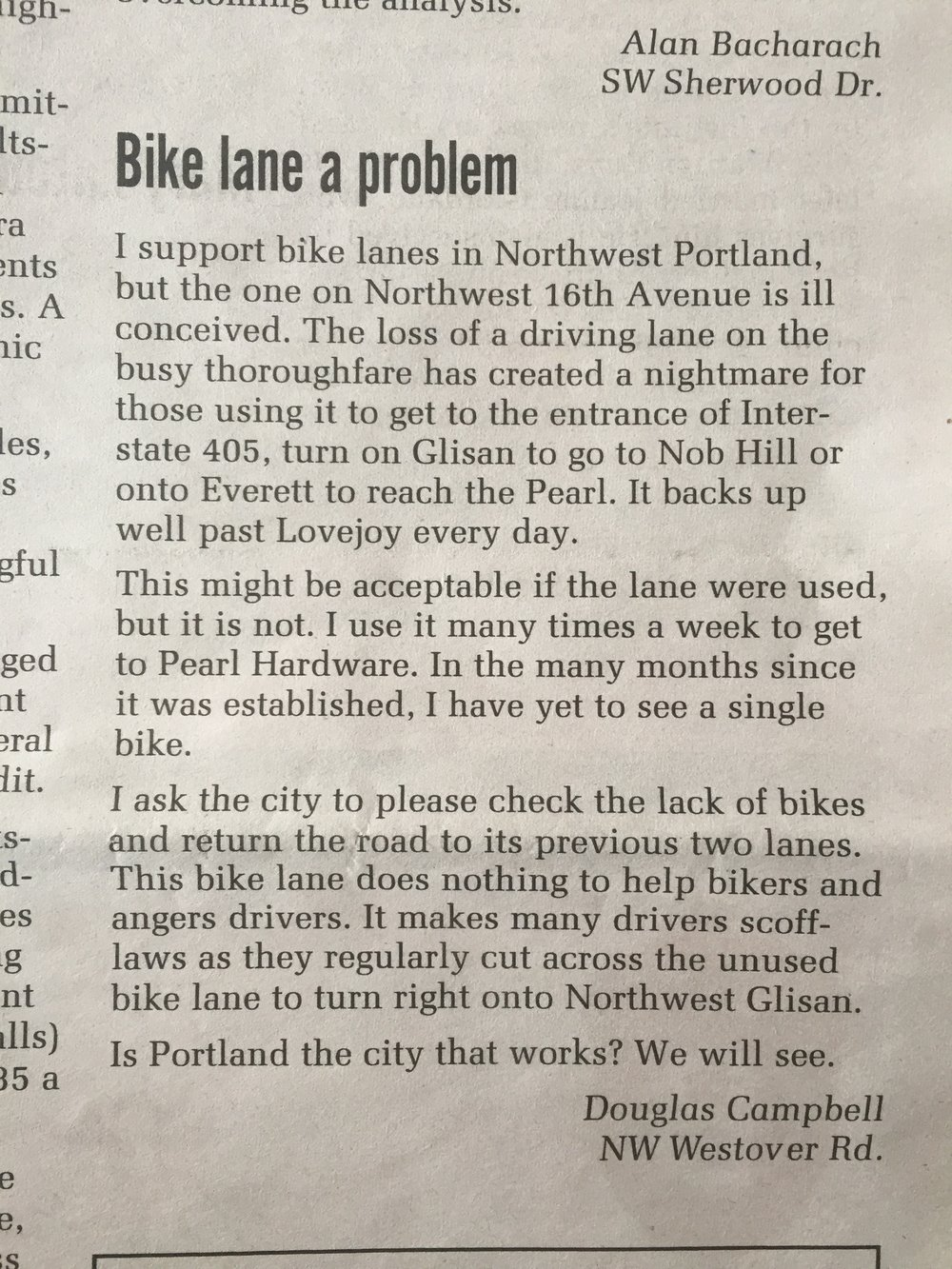 "if this is the mentality of ""someone that supports bike lanes"" then we're in big trouble (letter to Portland's NW Examiner newspaper, January 2018)"