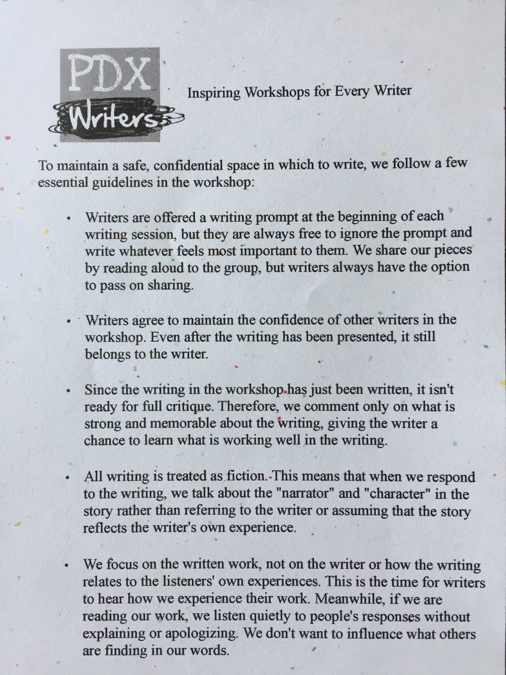 PDX Writers workshop guidelines