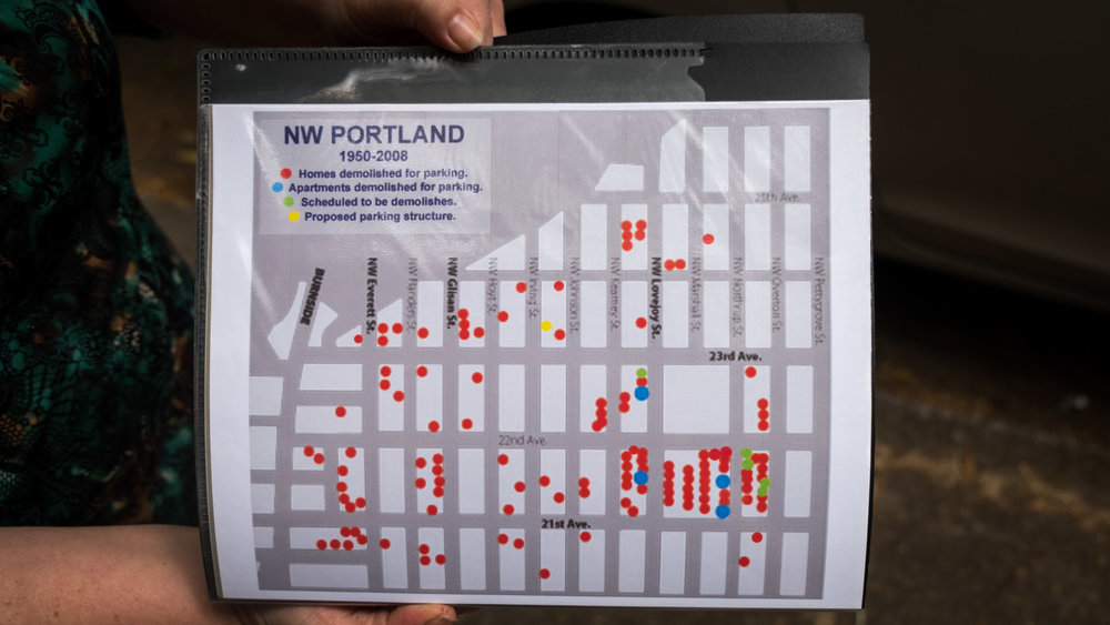 Map of historic buildings in the Alphabet District demolished for car parking (image credit Tanya Lyn March and Mike Ryerson of Slabtown Tours)