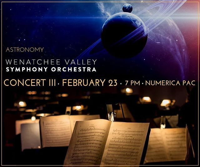 """Can't wait for Saturday! Just a few days to the most Epic concert of the season! In our 3rd concert """"Astronomy"""", we will feature the thunderous, movie-soundtrack feeling of Holst's The Planets. Wenatchee Valley Appleaires women's chorus will join us in the """"Neptune"""" movement, as will @charleyvoorhis. Of Voortex Productions along with their mesmerizing footage for an interstellar experience. Also on the program is Romberg's technical and expressive Concerto for Flute and Orchestra, featuring flutist Hal Ott, professor of flute at @cwu_music Department  Go to link in bio for more info and tickets- but you better hurry, they are selling fast!"""