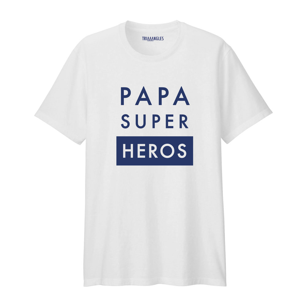 Tshirt blanc col rond - Coupe Homme - Artshop Triaaangles ® : Papa Super