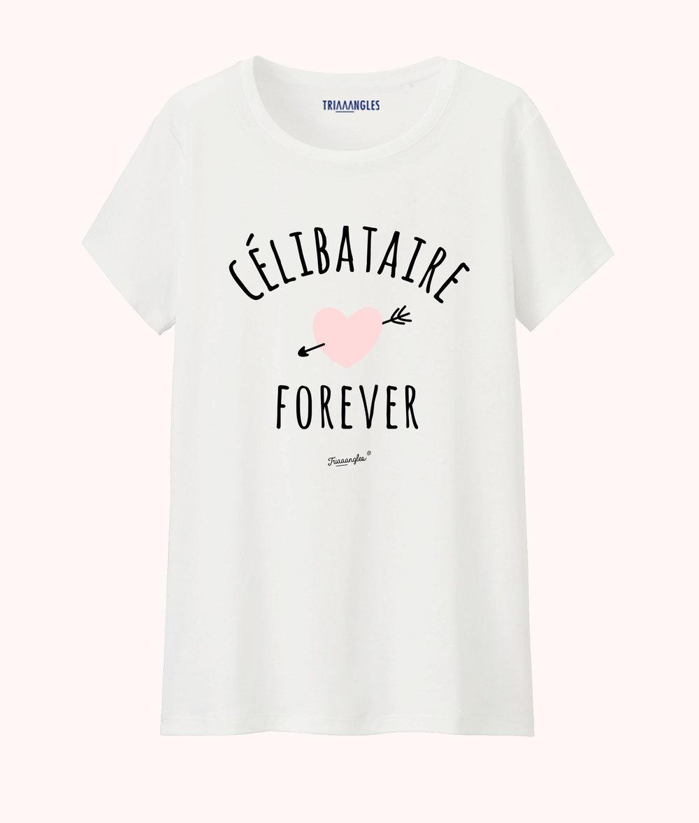Tshirt blanc coupe femme Triaaangles -Célibataire forever -29€90