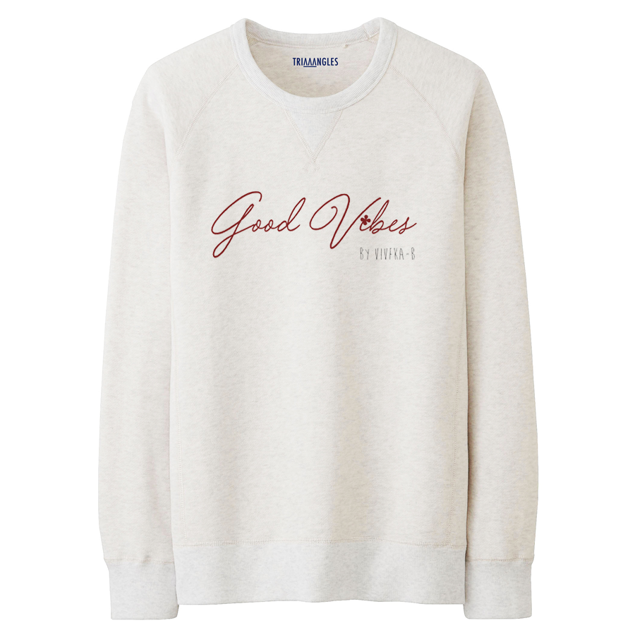 Le Sweat Beige Chiné - Imprimé  Good Vibes  Par Viveka x Triaaangles ® 49.90 €