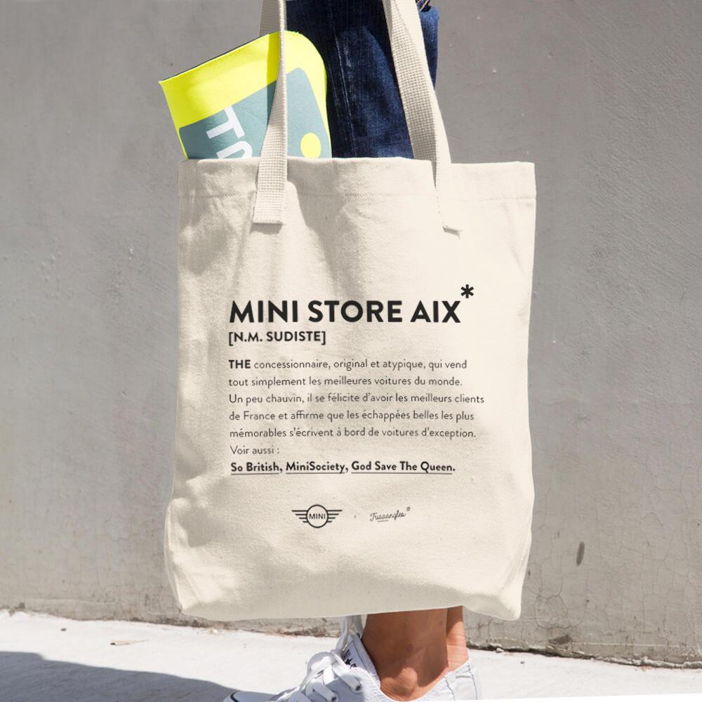 Le totebag réalisé pour  MINI  Aix-en-Provence, à récupérer au bar tout au long de leur soirée de présentation de leurs nouveaux modèles - Juin 2018.