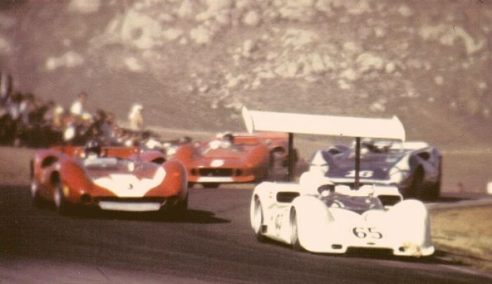 Phil Hill leading the race, Riverside Raceway 1966.