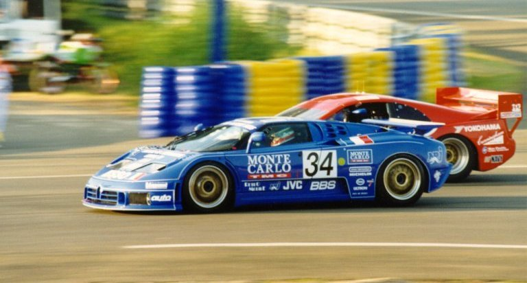 The EB110 battling with the wildcard entered American IMSA GTS Nissan 300ZX.