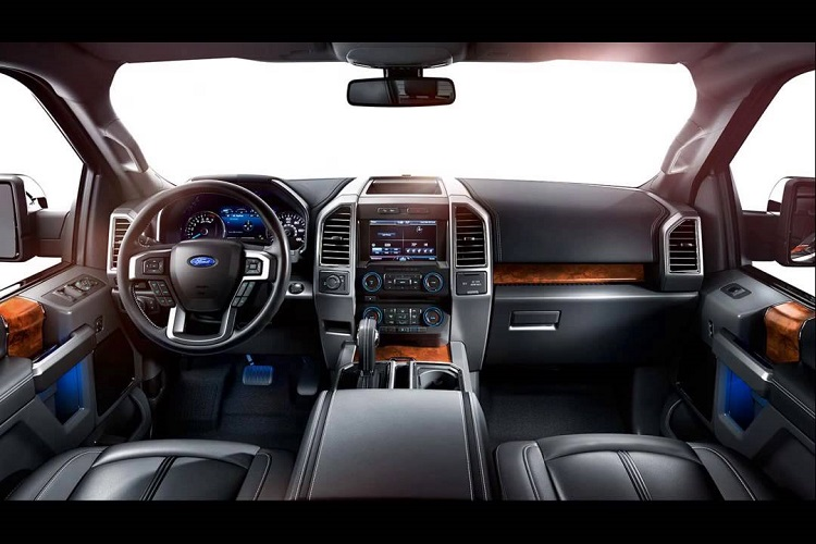 The interior of a Ford F-150, which is like a Rolls-Royce compared to the F-Series of 40 years ago.