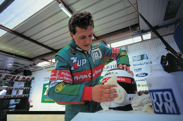 A nervous Michael Schumacher, Spa Francorchamps 1991.