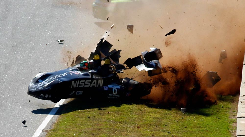 The DeltaWing crashing hard during practice for the 2012 Petit Le Mans